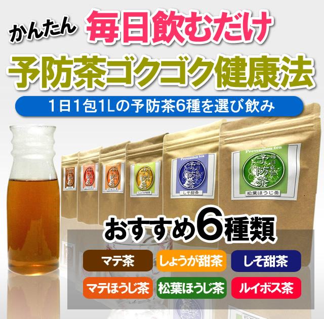 毎日飲むだけ、予防茶ごくごく健康法。マテ茶、しょうが甜茶、しそ甜茶、マテほうじ茶、松葉ほうじ茶、ルイボス茶